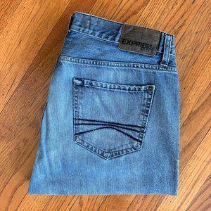 Express Rocco Slim Fit Straight Leg Light Jeans